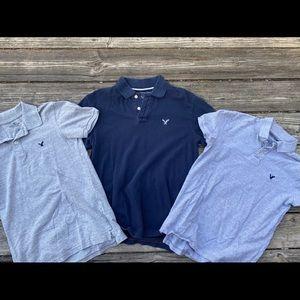 3 SZ S/M American Eagle polo shirts/core flex